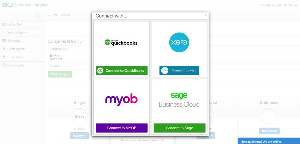 connect Xero, MYOB, Sage Business Cloud Accounting