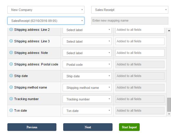 import Sales Receipts into QuickBooks