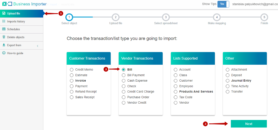 Click on Import file in left menu