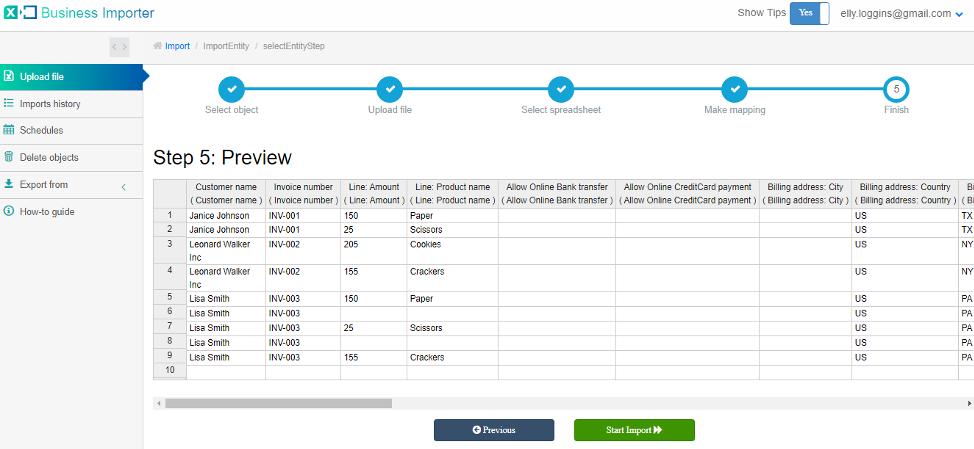 Start importing data into QuickBooks