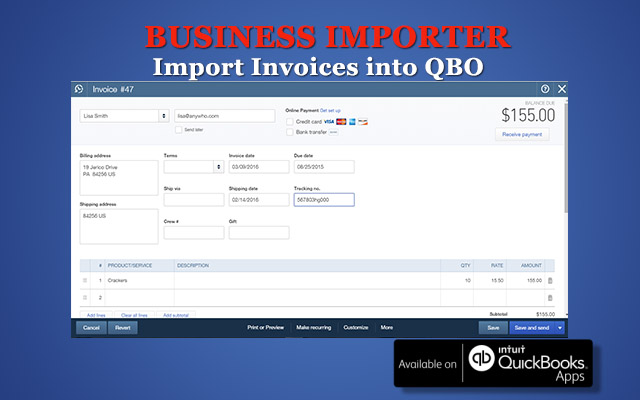 How To Import Invoices Into QuickBooks Online With Business Importer - Quickbooks invoice online
