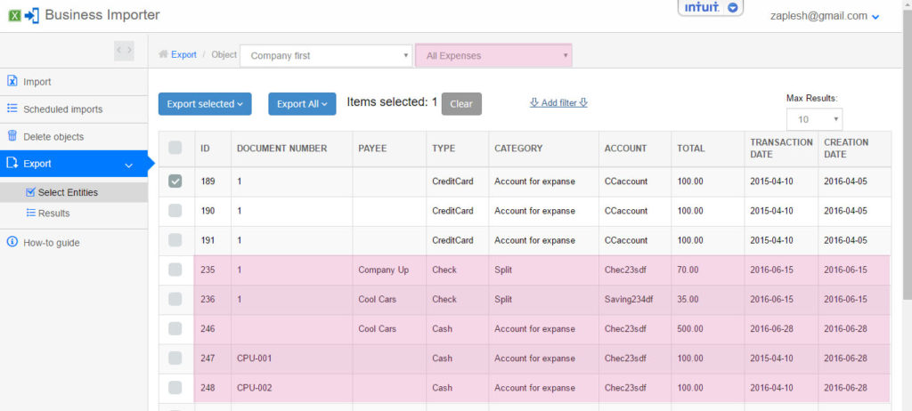 export and import Cash Expenses into QuickBooks online