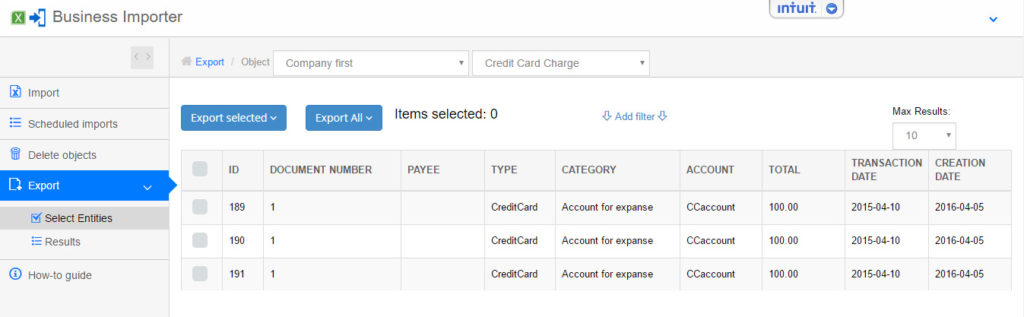 export and import Credit Card Charges into QuickBooks online
