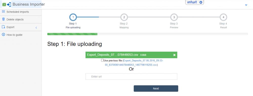 deposit import upload the file