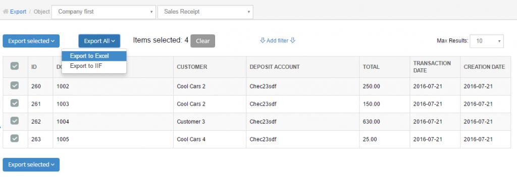 Export Sales Receipts from QuickBooks Online