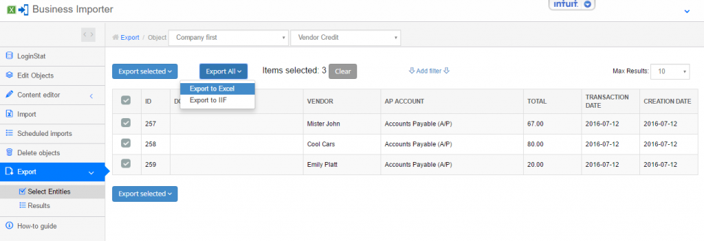 export and import Vendor Credits into QuickBooks Online: Export step