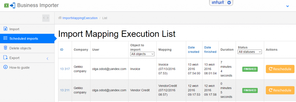import invoices into quickbooks online