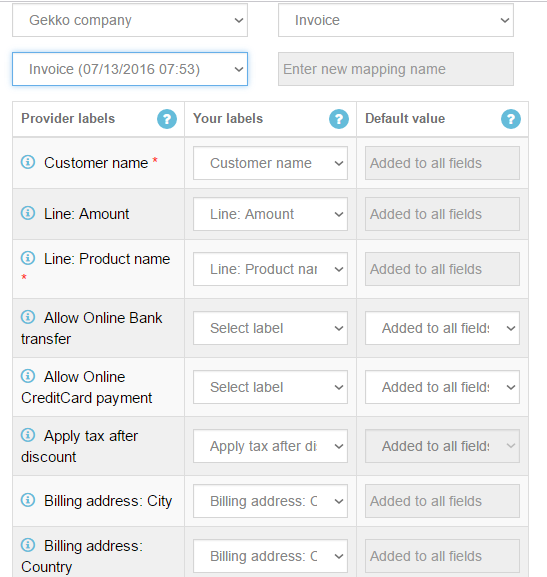 import invoices into quickbooks online mapping