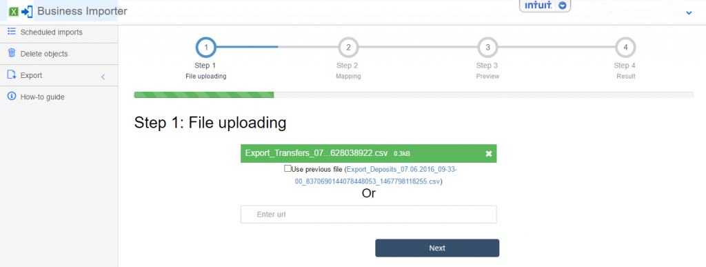 export and import Transfers into QuickBooks Online: Upload your file