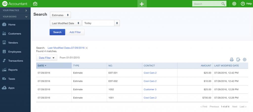 import estimates into QuickBooks Online: result