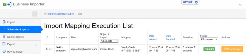 export and import Vendor Credits into QuickBooks Online