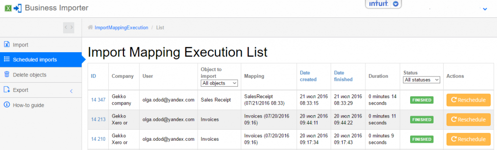 export and import sales receipts into quickbooks online