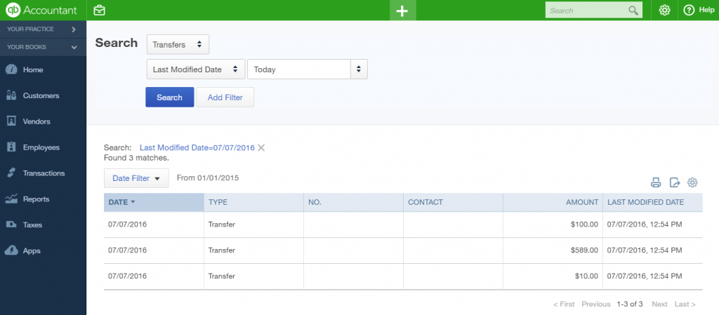 Results in QBO: import Transfers into QuickBooks Online