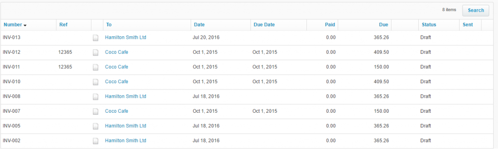 Xero result: import invoices into Xero