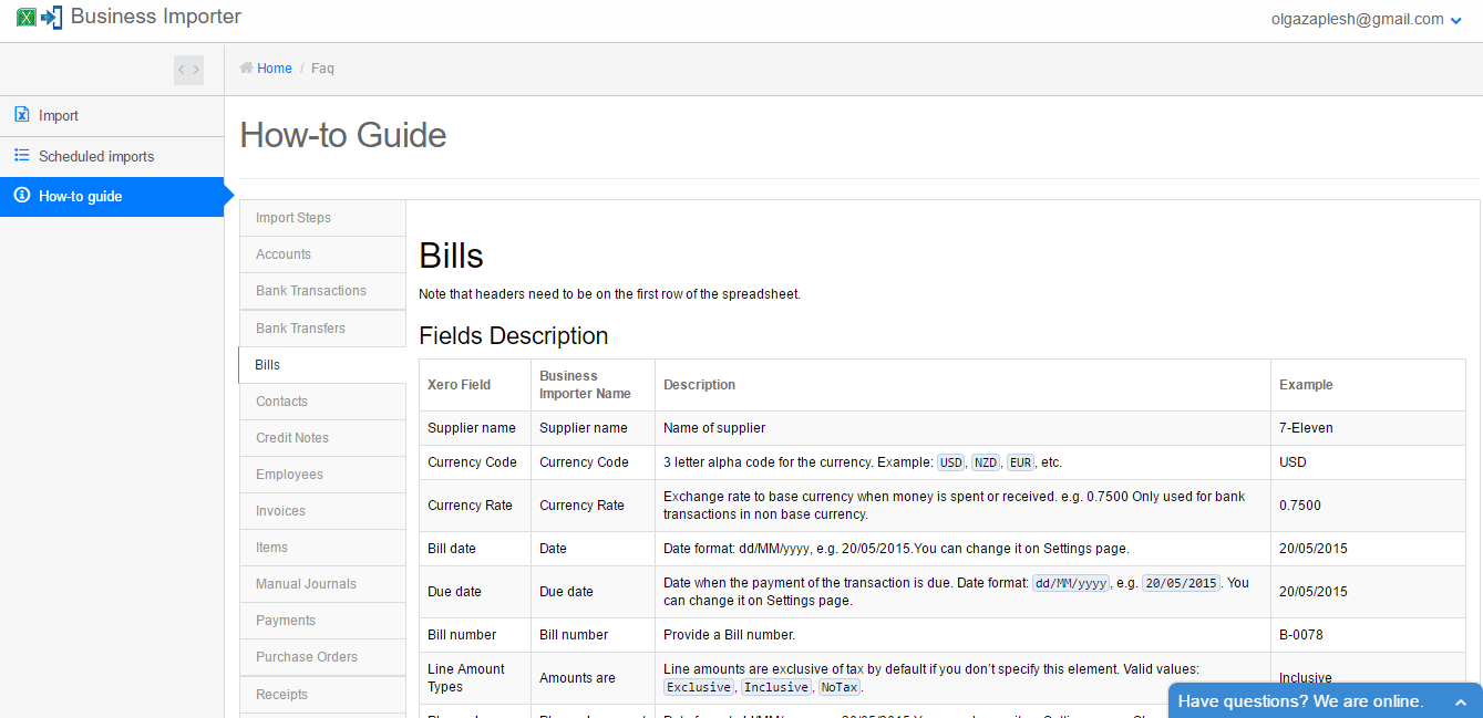 How to import Bills into Xero using Business Importer
