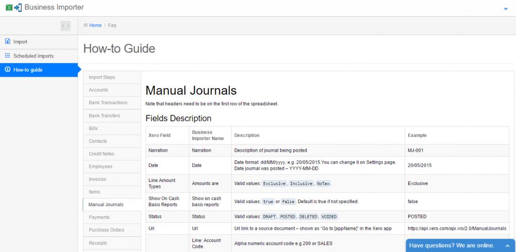 import Manual Journals into Xero