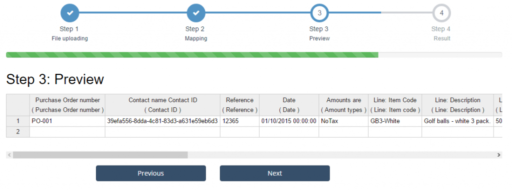 import Purchase Orders into Xero: PO preview