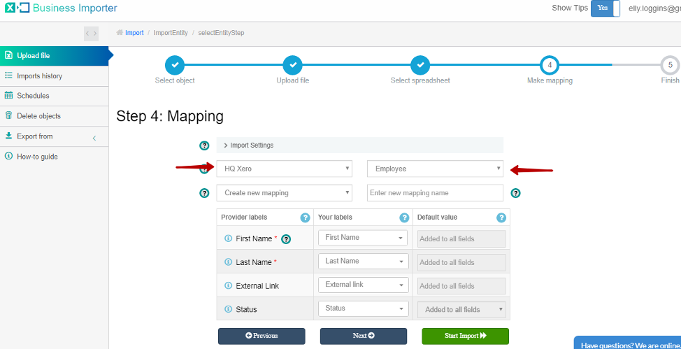 Select company in Xero you want to import Employees