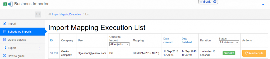 export and import Bills into QuickBooks Online: import finished