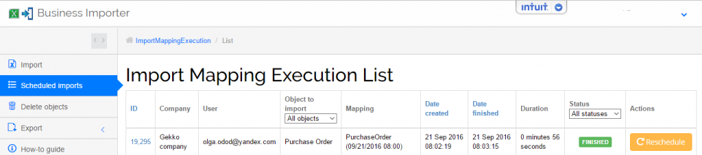 export purchase orders from QuickBooks Online and import purchase orders into QuickBooks Online