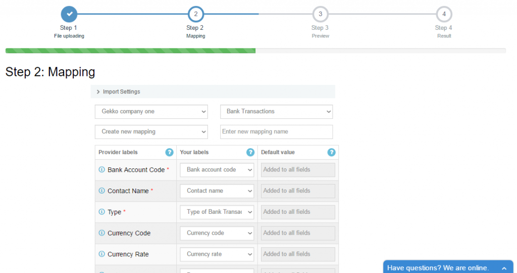 import bank transactions into Xero - choose the list