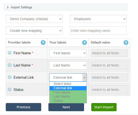 import employees into Xero: create mapping