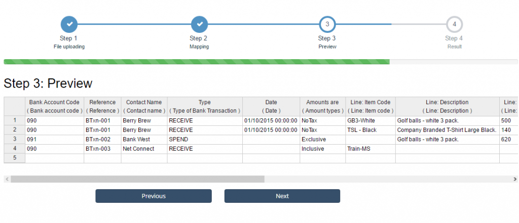 import bank transactions into Xero - review mapping