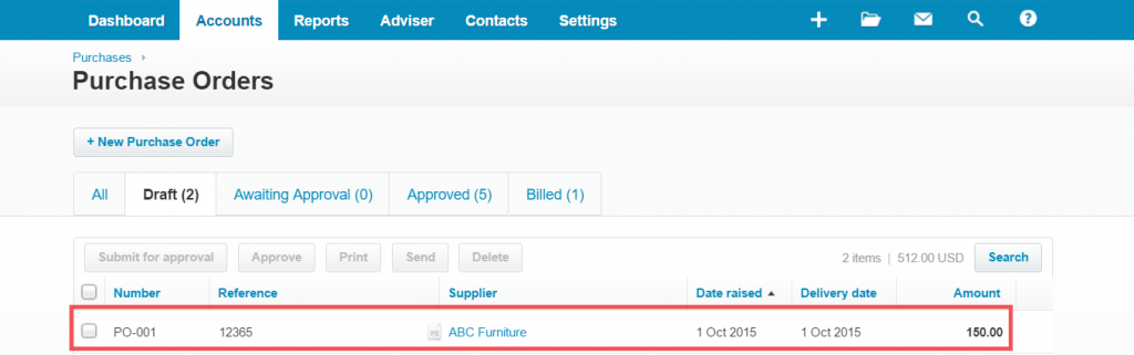 import Purchase Orders into Xero: PO xero Import result