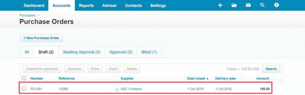 import Purchase Orders into Xero: PO xero Import result