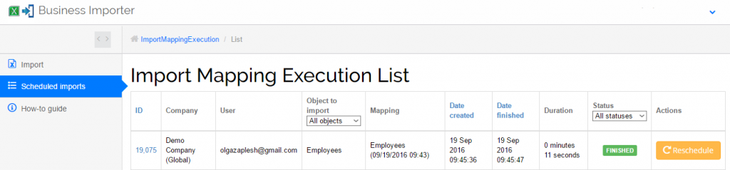 import employees into Xero: employees import result