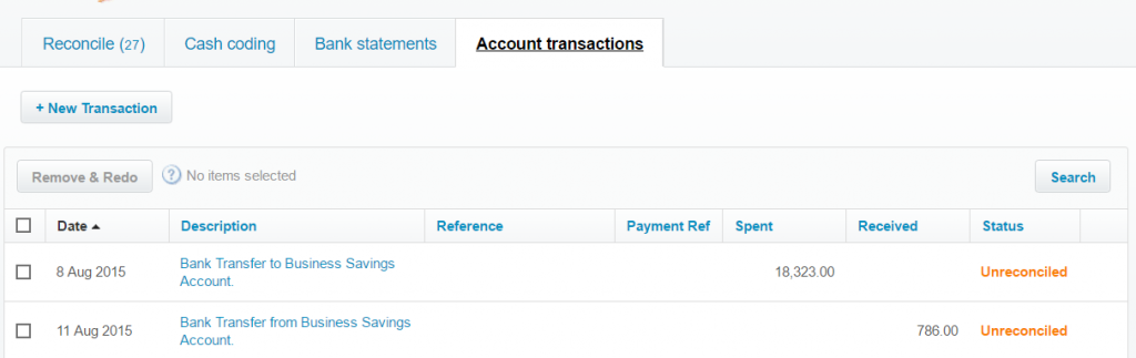 import Bank Transfers into Xero result in Xero