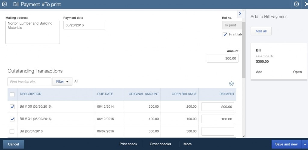 The result of exporting Bill Payments in QuickBooks Online