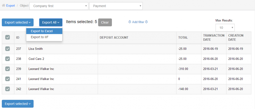 export payments in quickbooks online