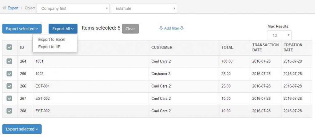 export estimates from quickbooks online