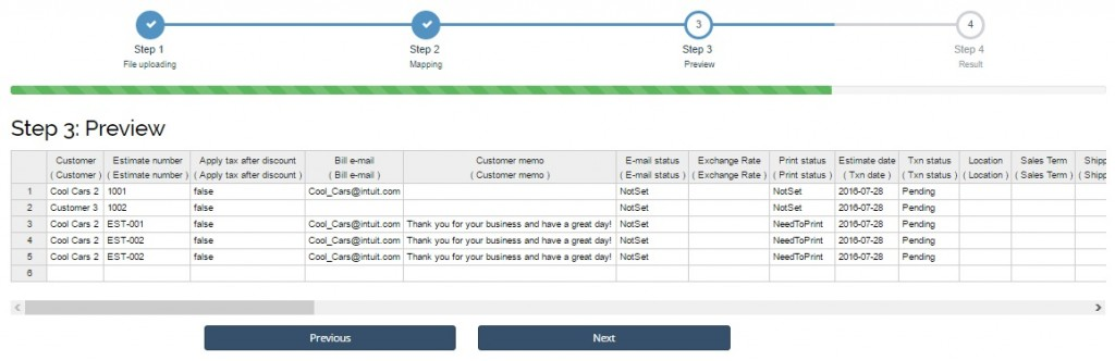 export and import estimates in quickbooks online - preview