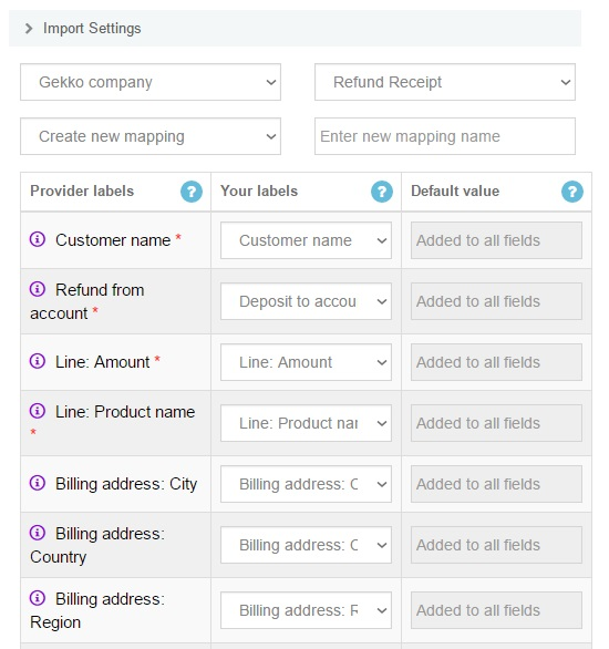 Export Refund Receipts from QuickBooks Online: import the exported file - Mapping