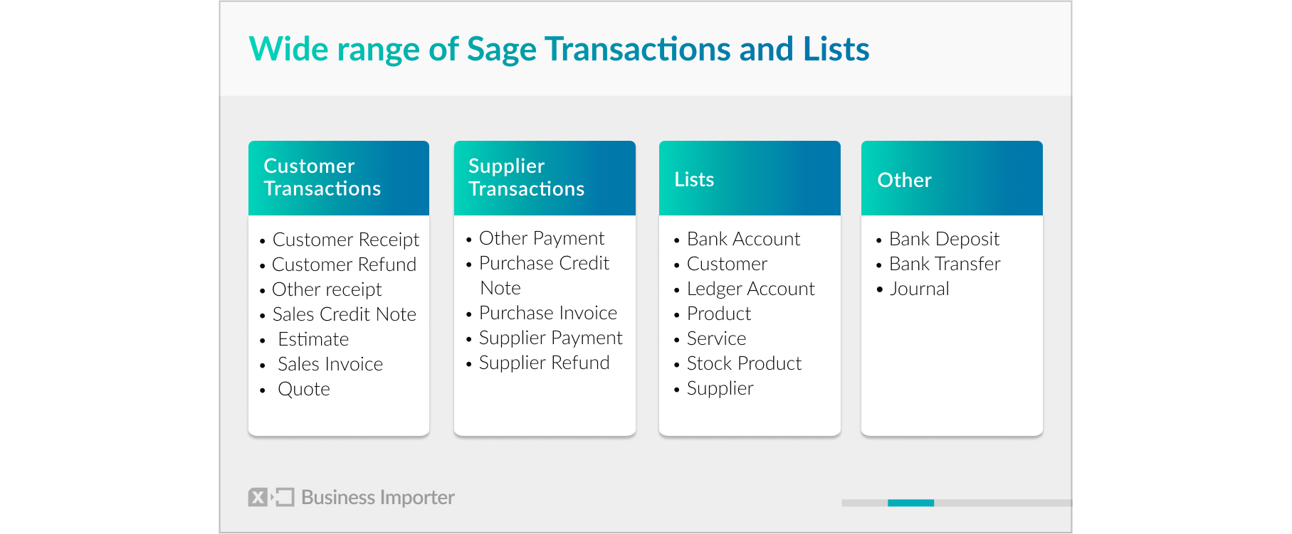 Transactions and Lists you can import Into Sage