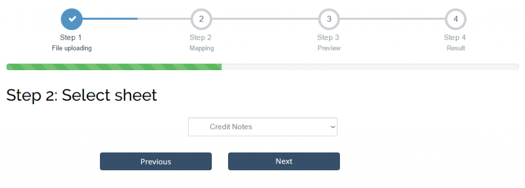 Choose Credit Notes list to Import Credit Notes into Xero