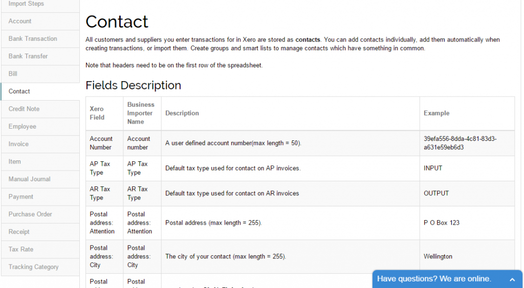 import contacts into Xero: guide