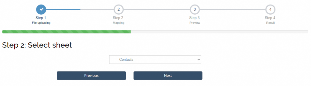 import contacts into Xero: select sheet