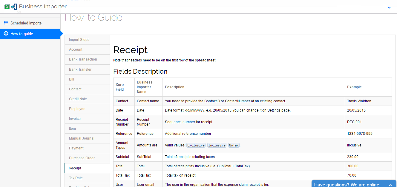 How to import Receipts into Xero, using Business Importer