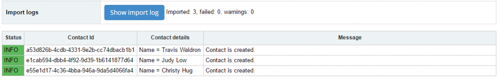import contacts into Xero: result of the import