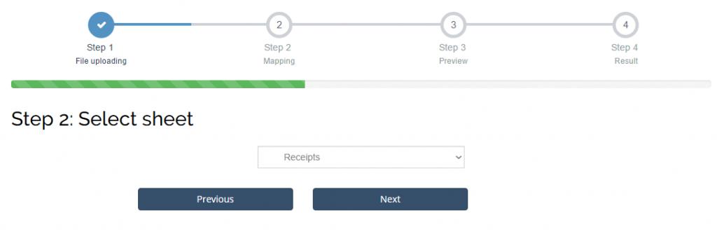 Import Receipts into Xero: choose the list