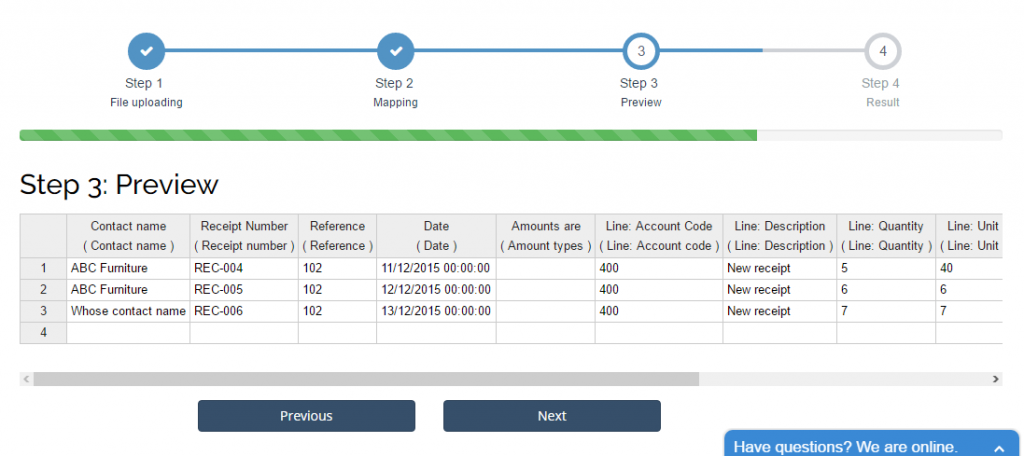 Import Receipts into Xero: preview and change if necessary