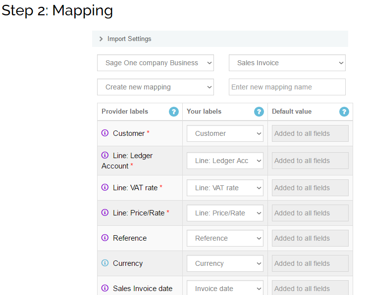 Import Sales Invoices into Sage One: map your columns