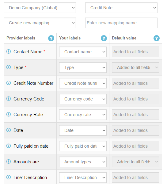 Import Credit Notes into Xero: mapping step