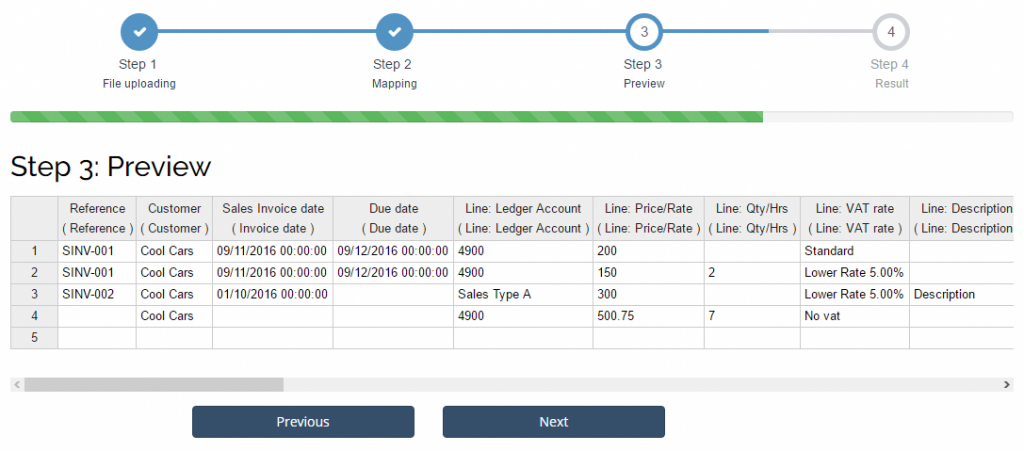 Import Sales Invoices into Sage One: preview step