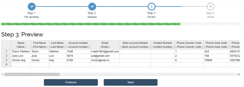 import contacts into Xero: preview step