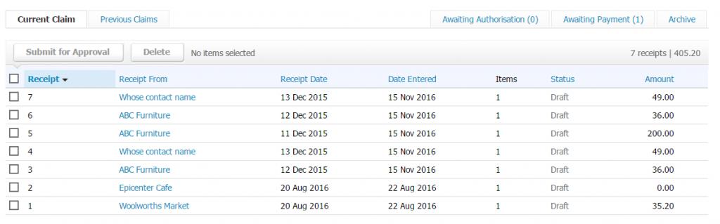 Import Receipts into Xero: importer Receipts