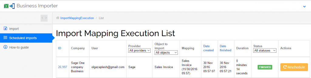 Import Sales Invoices into Sage One: check out result in Business Importer